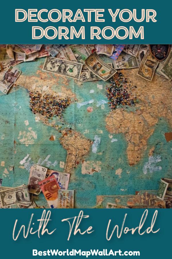 Decorate Your Dorm with World Map by BestWorldMapWallArt.com